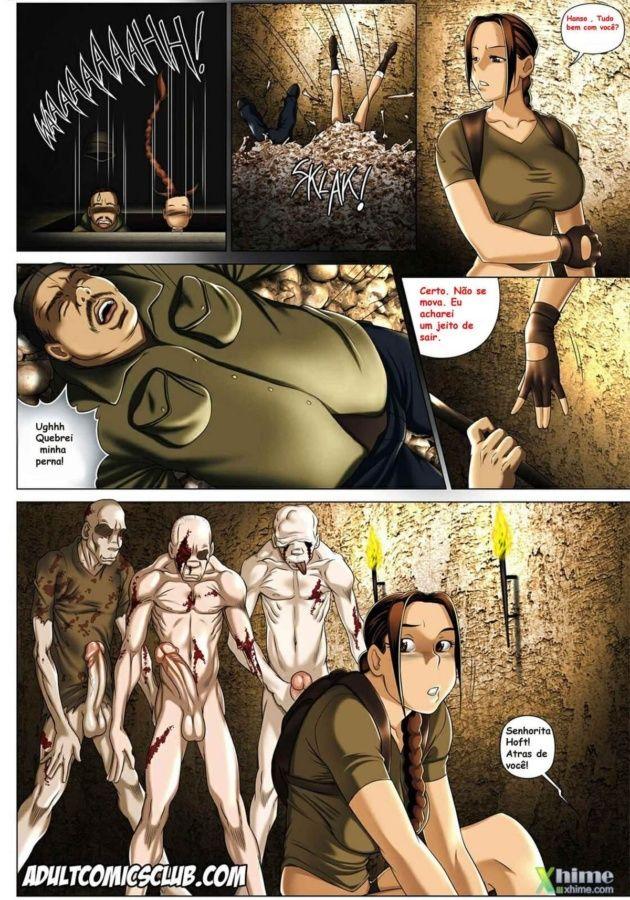 Lara Croft encontrando zumbis