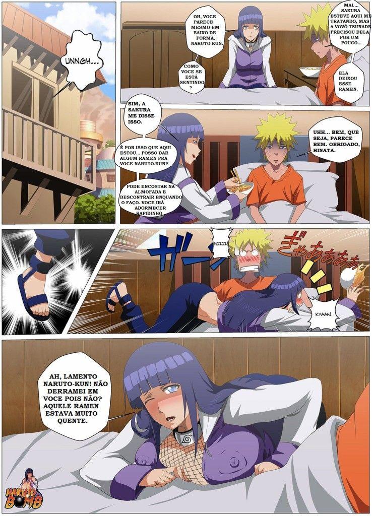 Hinata curando Naruto com foda